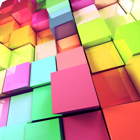 modern art: Abstract 3d colored cubes background
