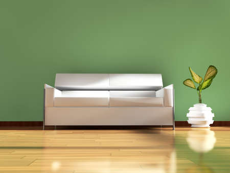 stateroom: 3d interior architecture.Modern sofa and table in green toned and parquet floor