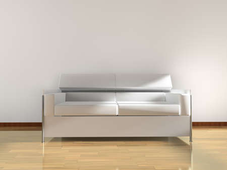 3d interior architecture.Modern sofa and parquet floor