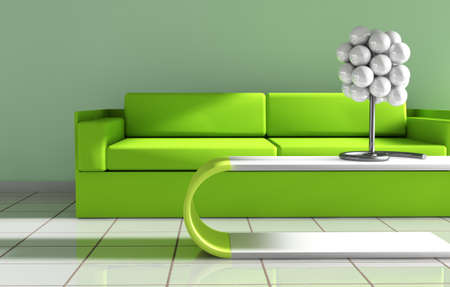 stateroom: 3d interior architecture.Modern sofa and table in green toned