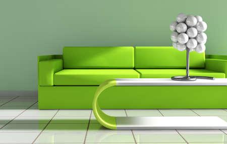 sala recepcyjna: 3d wnętrza architecture.Modern sofa i stół w kolorze zielonym stonowanych