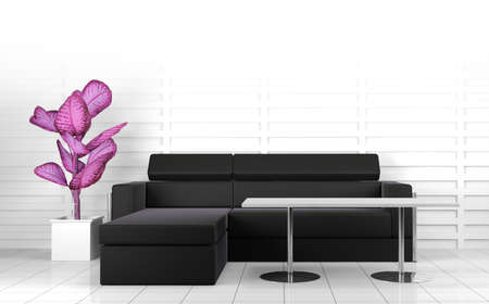 3d interior architecture.Modern sofa and table in black and\ white toned.