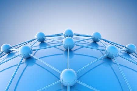 Imagen en 3D de diagrama azul o net.Networking y concepto del Internet.