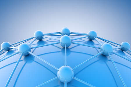 telecommunication: 3d image of blue diagram or net.Networking and internet concept.