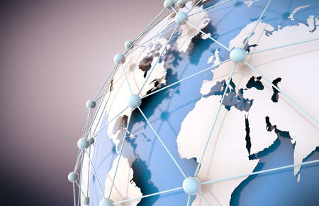 Networking  and internet concept with globe world map photo
