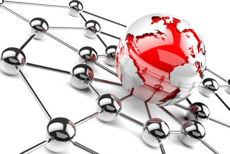 imaginary line: Globe world map.Internet and business networking concept