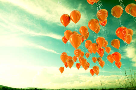 3d image of balloons outdoor background.