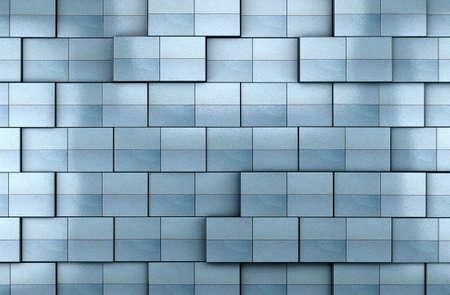 3d blue tile wall background Archivio Fotografico