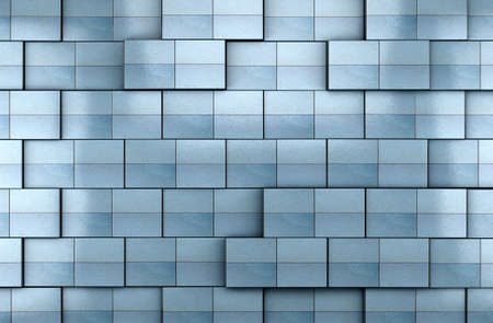 3d blue tile wall background Banco de Imagens