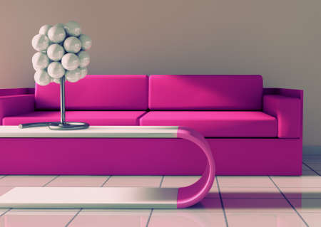 loft living: 3d interior architecture.Modern sofa and table in pink toned
