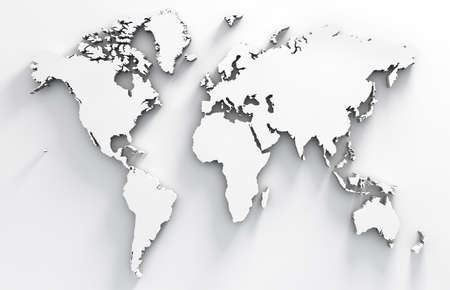 3d image of white world map