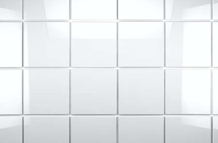 mosaic floor: 3d white tile wall background
