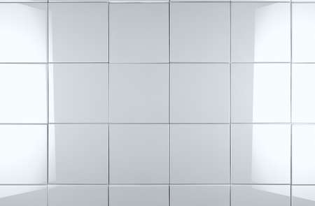3d white tile wall background Stock Photo - 18585879