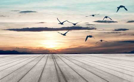 Tramonto Dreamscape. Pavimento in legno e uccelli che volano Archivio Fotografico - 18586396