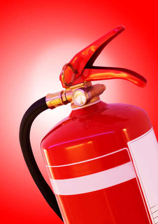 foam safe: detail of red fire extinguisher Stock Photo