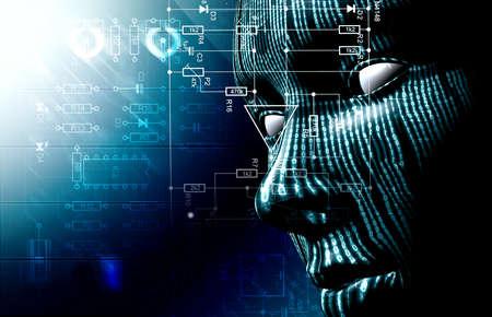 이진 코드 및 얼굴 배경입니다. 기술과 해커의 배경 스톡 콘텐츠