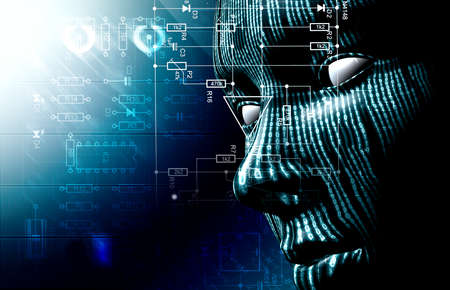 Background with binary code and face. Background of technology and hacker photo