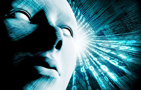 Fondo con código binario y la cara. Antecedentes de la tecnología y de hackers Foto de archivo - 26870325