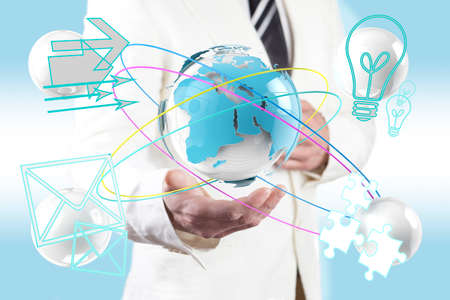 Global business concept. World map and technology icons.networking photo