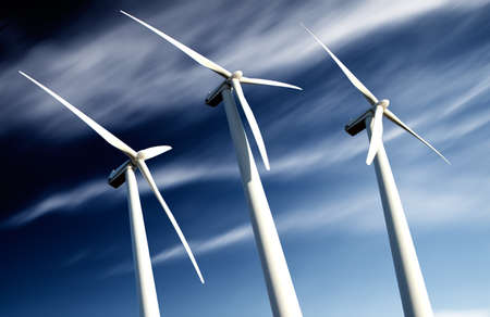 molino viento: potente y ecológico concepto de energía. Eólico Industrial instalación de molinos de viento. Foto de archivo