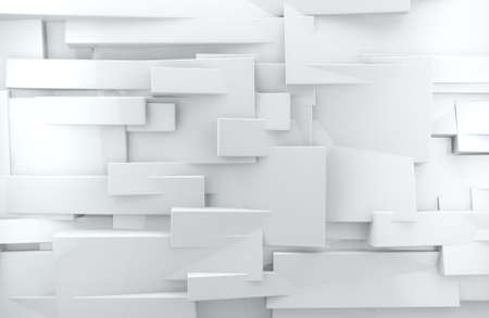 abstract architectural,White abstract wall with shiny cubes Stockfoto