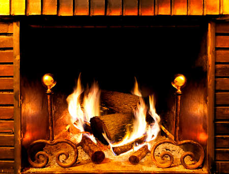 close up image of fireplace and wood burning