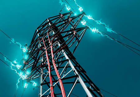 electricity grid: Pylon. Concept of electricity and energy.