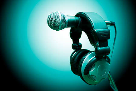 sound recording equipment: microphone and headphones. Concept audio and studio recording