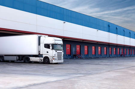 truck loading at a warehouse building.  photo