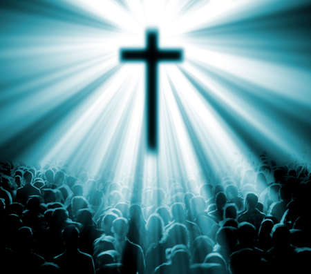 familia orando: La religión cristiana. Ilustración con la cruz de Cristo y los creyentes Foto de archivo
