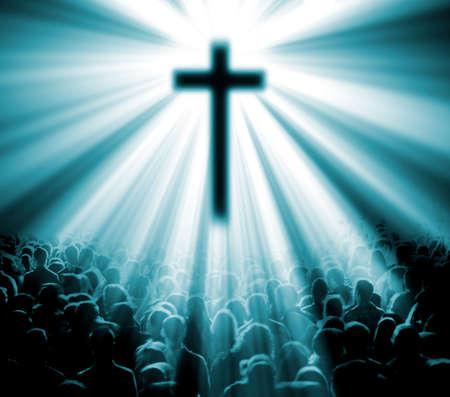 sacra famiglia: Religione cristiana. Illustrazione con croce di Cristo e fedeli Archivio Fotografico