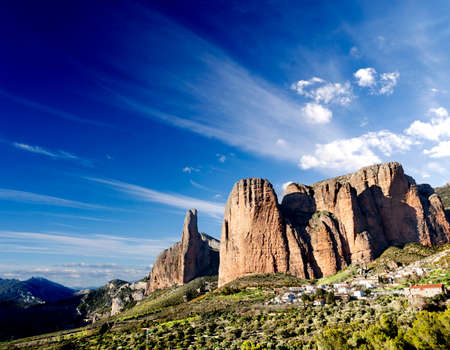 dreamscape: idyllic landscape,canyon and mountains dreamscape at Spain,Riglos. Stock Photo