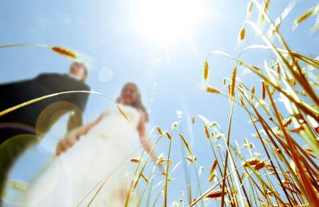 wedding photography: wedding photography. Couple and landscape Stock Photo