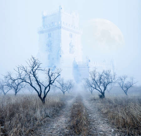 horror castle: Mysterious foggy scenery.Castle and full moon.