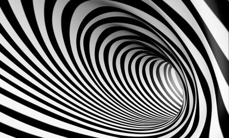 tunnels: 3d abstract spiral background in black and white