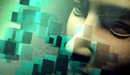 futuristic girl: abstract human face background.Cube shape and texture.Grunge and old style