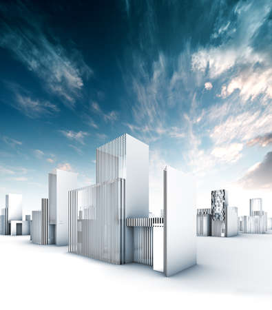 Sustainable city blueprint concept.Construction and engineering Stock Photo