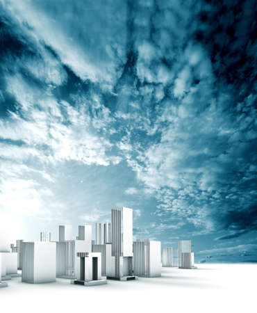 Sustainable city blueprint concept.Construction and engineering Archivio Fotografico