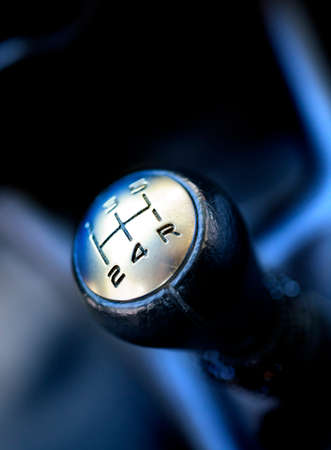 gearstick: Gear shift close up image.Car and engine concept