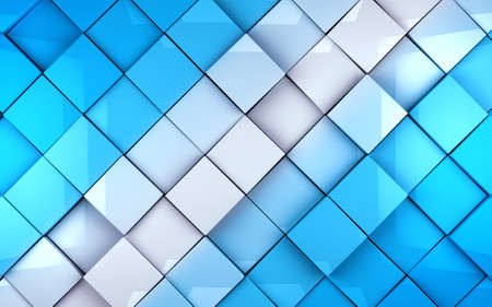 tech background: Abstract cubes background in blue toned. Wall tiles surface Stock Photo