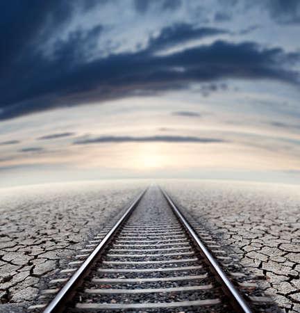 dreamscape: Travel concept and railway.Sunset dreamscape