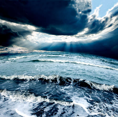 sea waves: Ocean Storm.Cloudy sky and waves Stock Photo