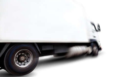 Truck isolated over white background .Motion blur.Transport of commodity 写真素材