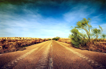 Desert road,road trip concept.