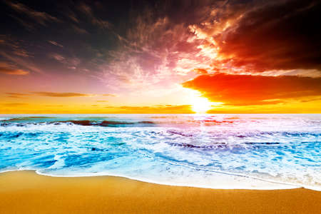 Dreamy sunset at beach shore photo