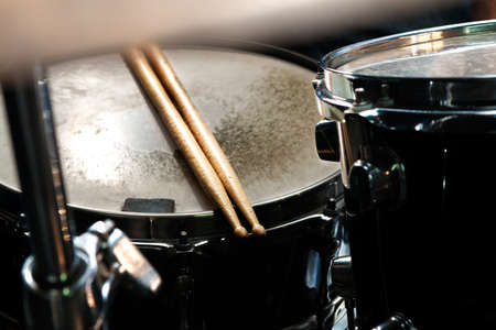 Music background.Drum close up image.