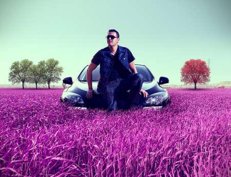 surreal landscape: Surreal landscape and man portrait and his car.Leisure and recreation.Car concept