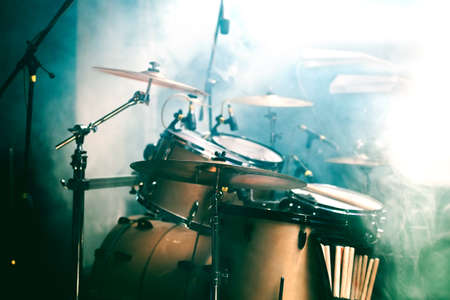 empty stage: Live music background. Drum on stage Stock Photo
