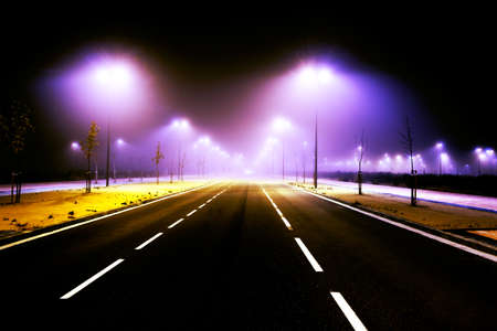 lampost: Road and city lights. Foggy cityscape and lampost