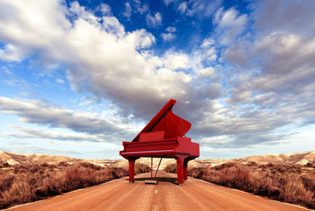 old piano: Music concept.Scenery and piano on the road